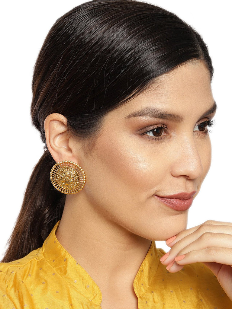 Gold Plated Floral Design Contemporary Look Studded Earring By Zaveri Pearls