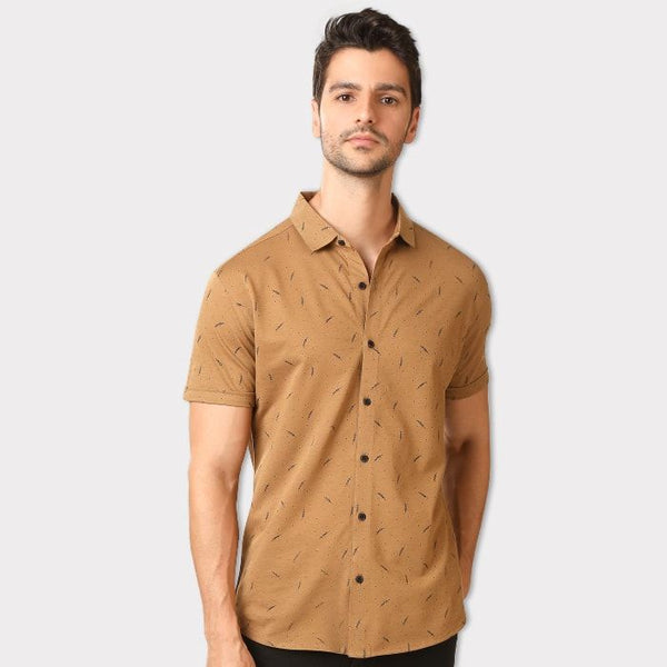 Dusky Brown Dot & Leaf Slim Fit Half Sleeve Shirt
