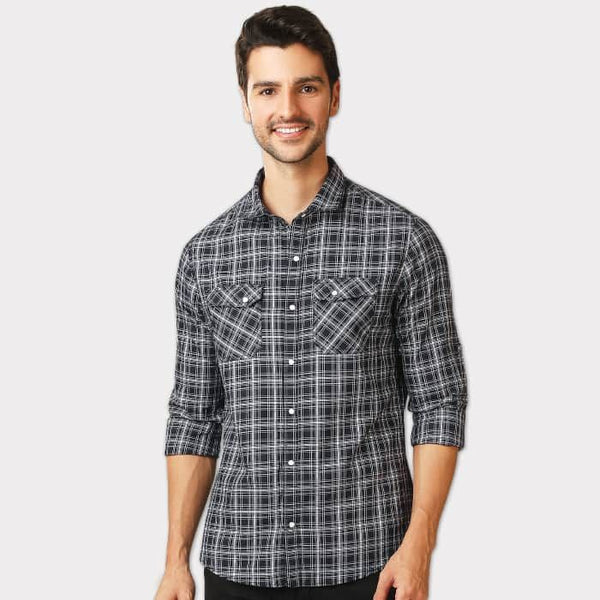Black Dual Pocket Checkered Slim Fit Shirt