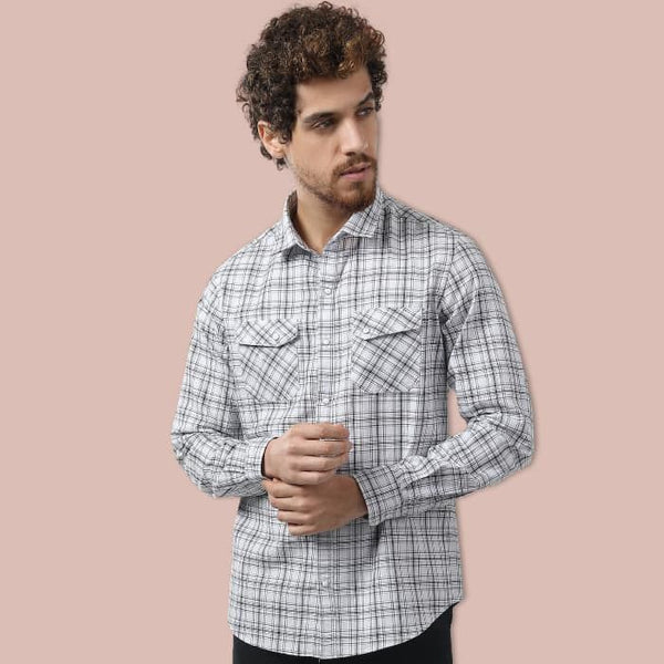 White Dual Pocket Checkered Slim Fit Shirt