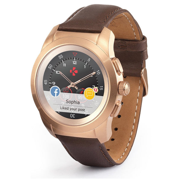 MyKronoz ZeTime Petite Premium Brushed Pink Gold/Brown Vintage Leather