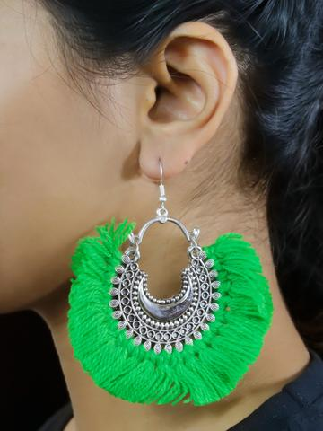 Floral Design Green Drop Earring