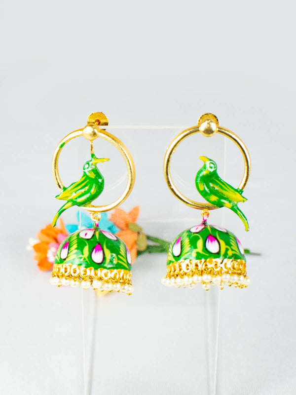 Green Enamelled Bird Bliss Jhumkas - Medium