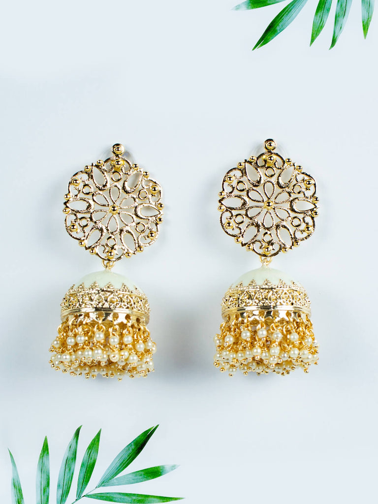 White Enamelled Jhumkas - Large