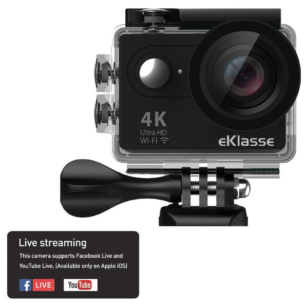 Eklasse 4K Action Camera With WiFi & Live Streaming Black - EKAC02EG