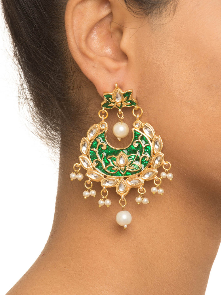Enamel Green Kundan Earrings