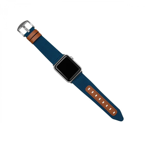 Evutec Northill Apple Watch Band 42/44mm - Blue/Saddle