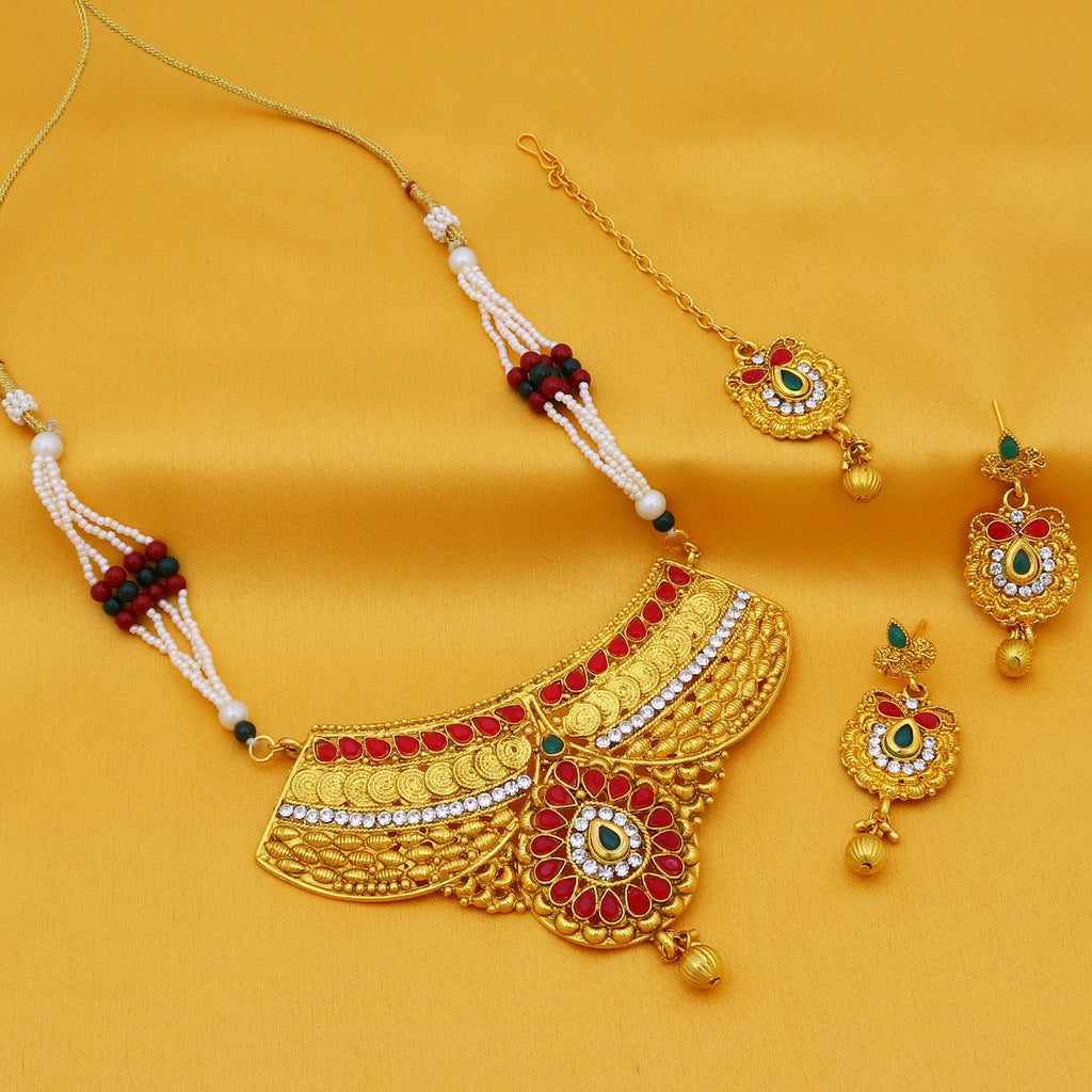 Sukkhi Attractive Pearl Gold Plated Collar Jalebi Necklace Set For Women