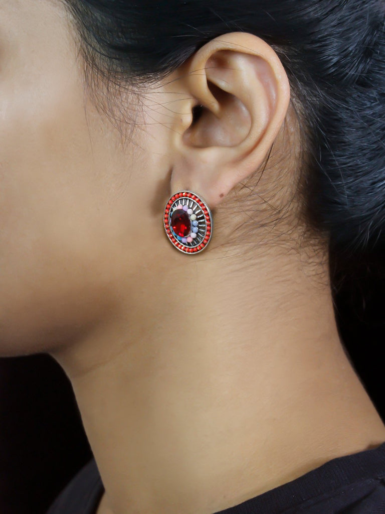 Round Design Red Stud With Stones Earring