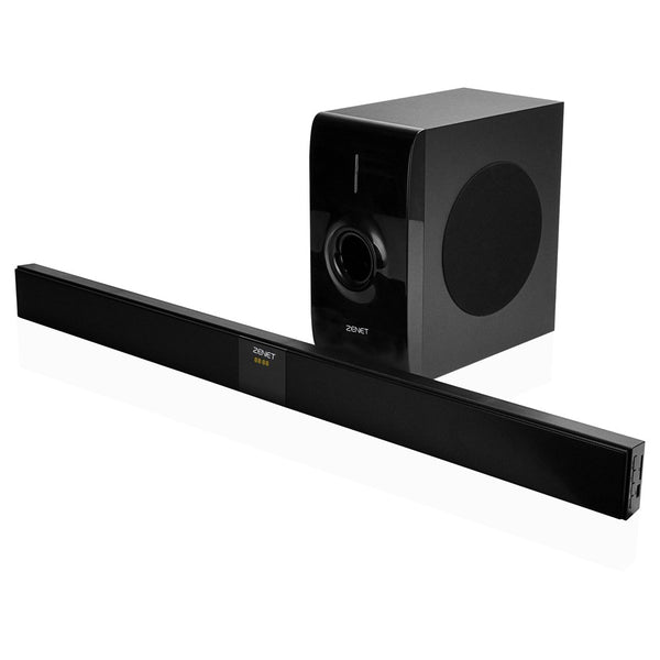 Zenet Wired Sound Bar With Subwoofer 2.1 Channel - Black
