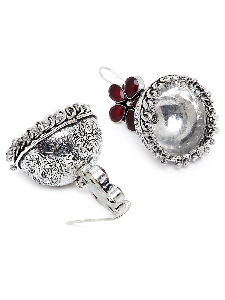 Floral Silver Plated Brass Jhumkis With 5 Red Stones