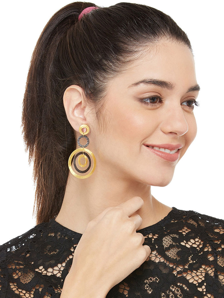 Gold And Black And Pink Alloy Fashion Drop Earrings