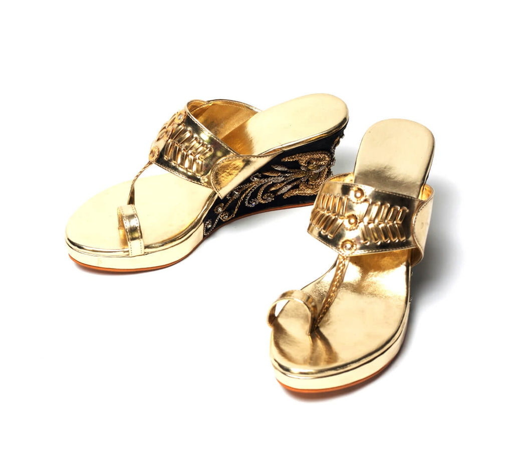 Gold And Black Faux Leather Kolhapuri Wedges