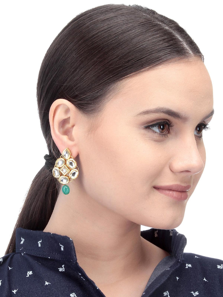 Gold And Green Women Fashion Earrings