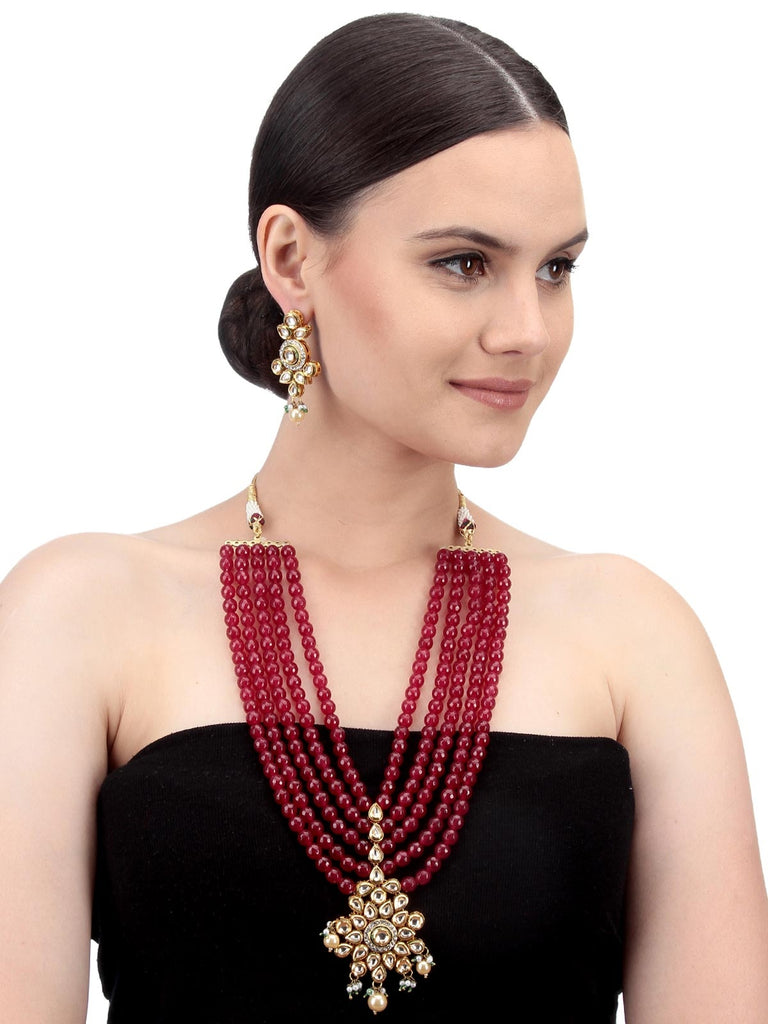 Gold And Red Women Fashion Long Necklace Set