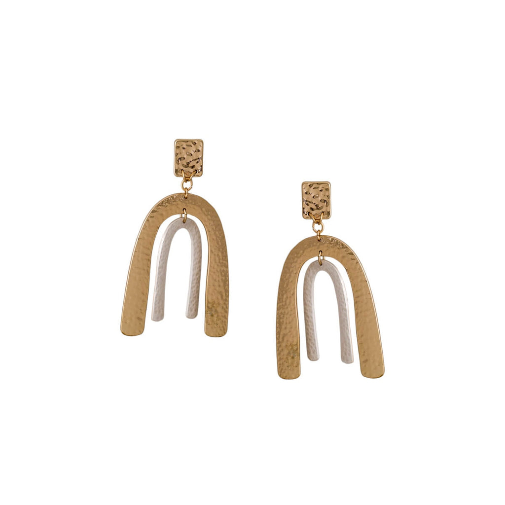 Gold And Silver U Shaped Earrings