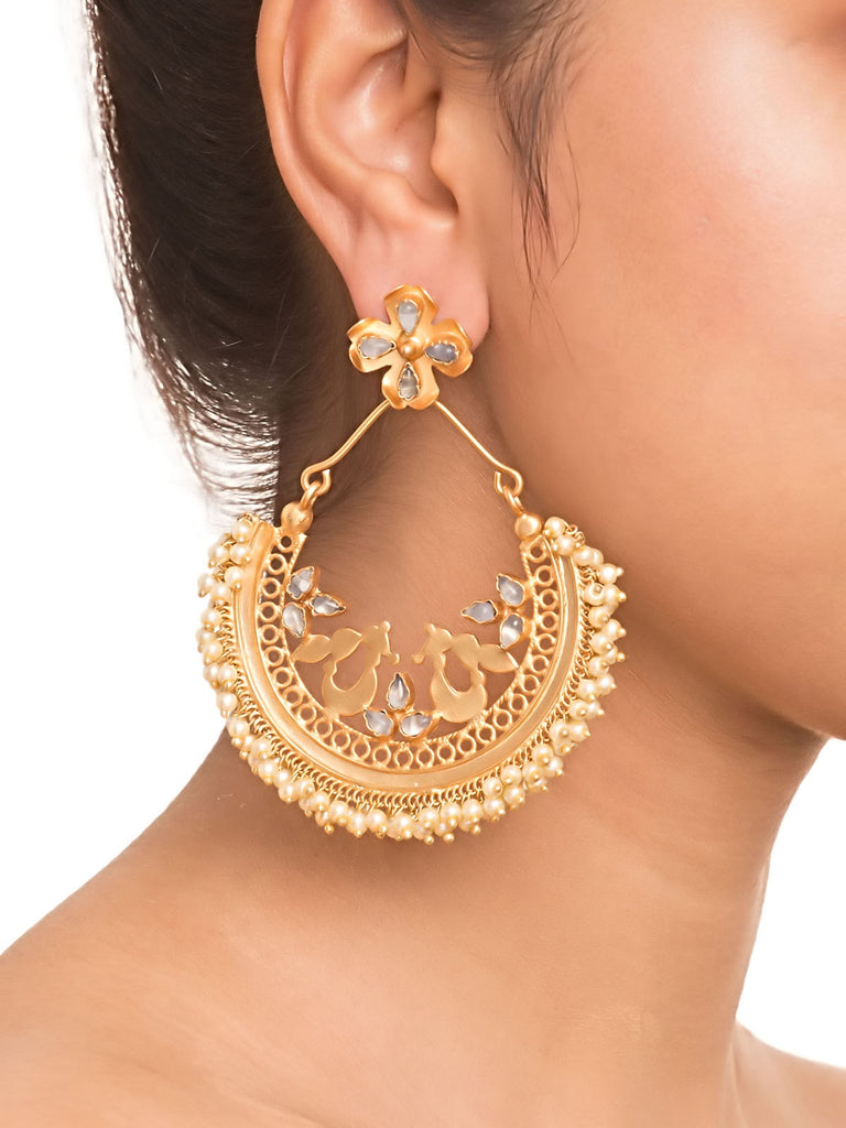 Gold Aqua Peacock Oversized Chandbali Earrings