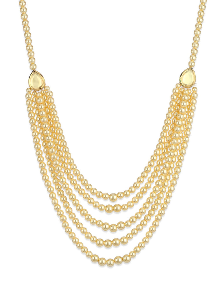 Gold Kundan And Pearl Long Necklace