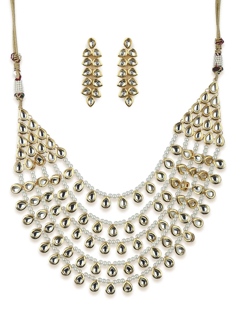 Gold Kundan And Pearl Traditional Long Jewellery Set