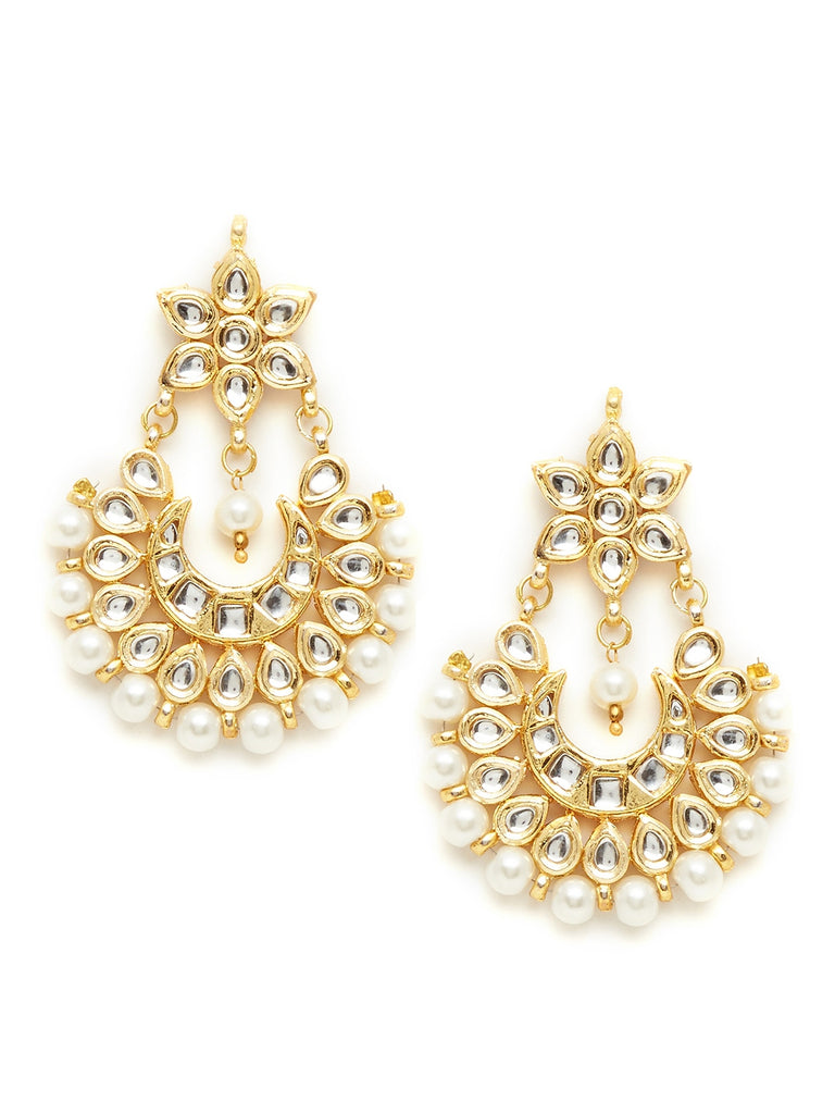 Gold Kundan Chandbali Earrings