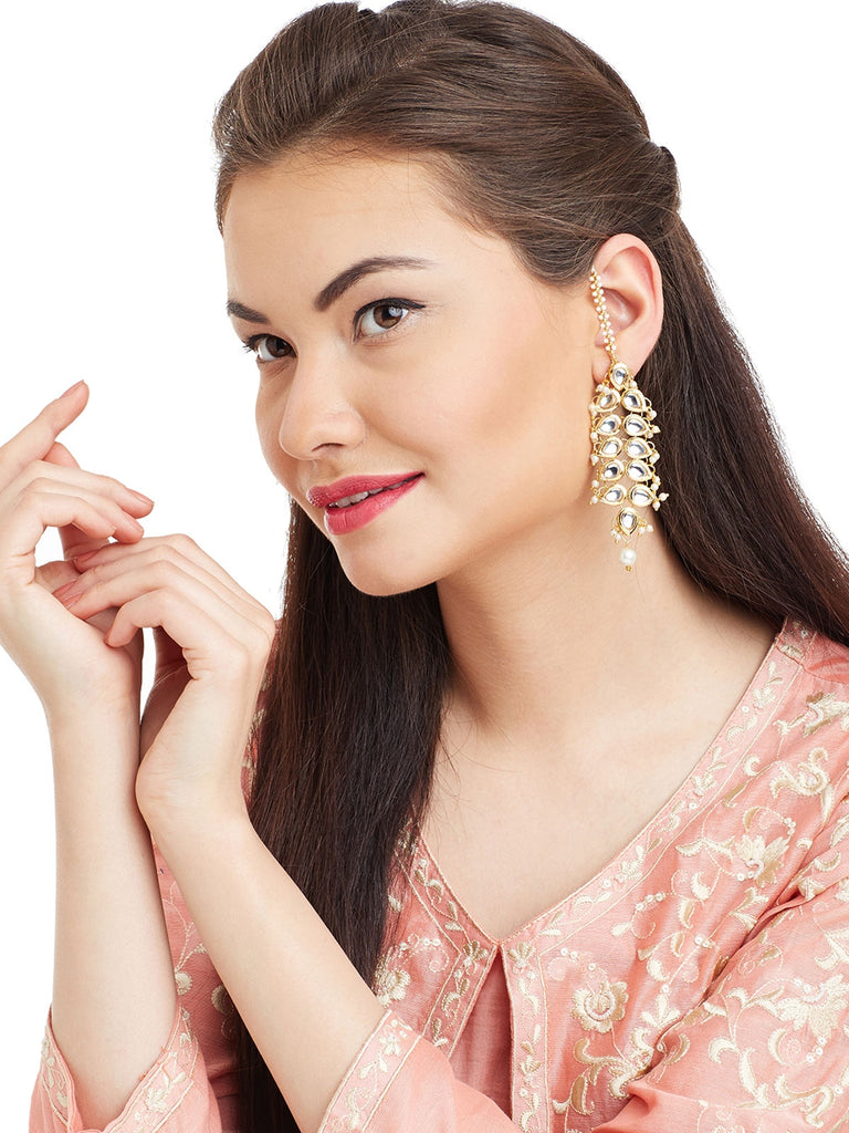Gold Kundan Drop Earrings
