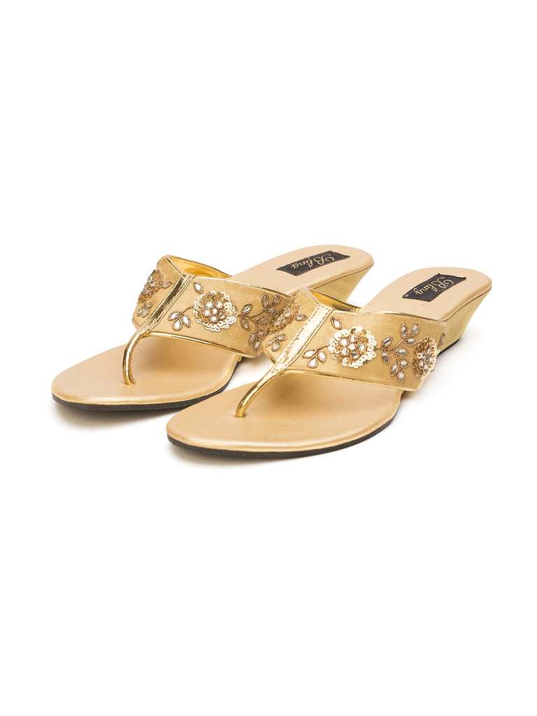 Gold Kundan Flower Hand Work Wedges
