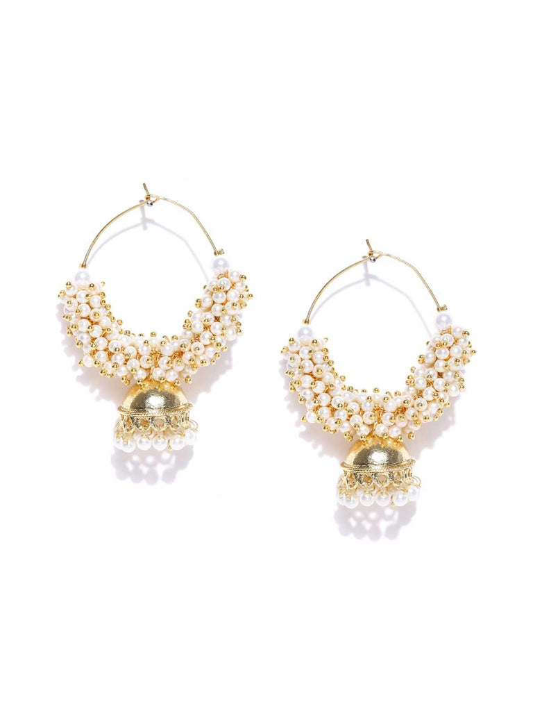 Gold Pearlied Agglomeration Jhumka Earrings
