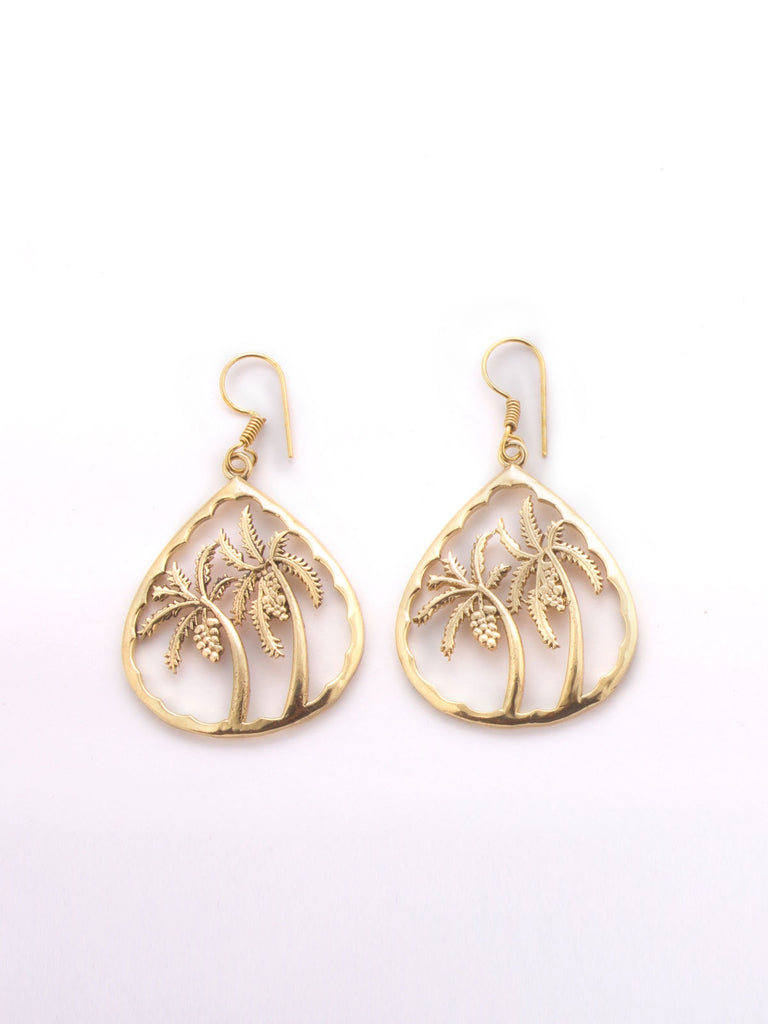 Gold Plated Palm Tree Cutwork Earrings