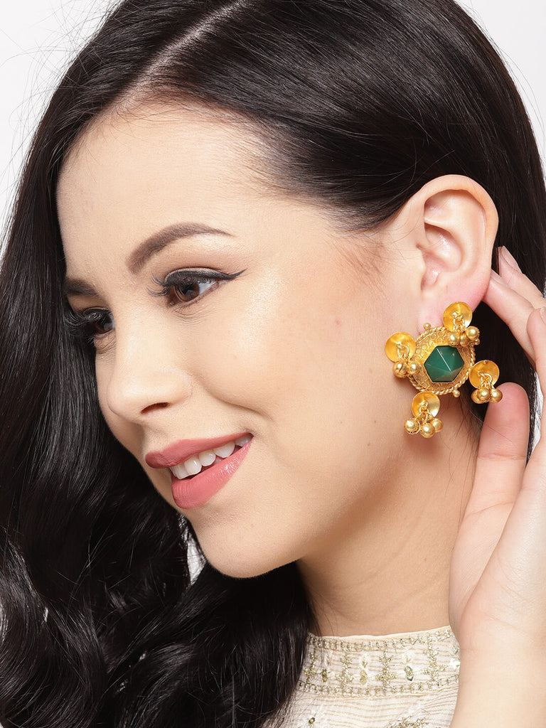 Gold Studs And Stone Earrings