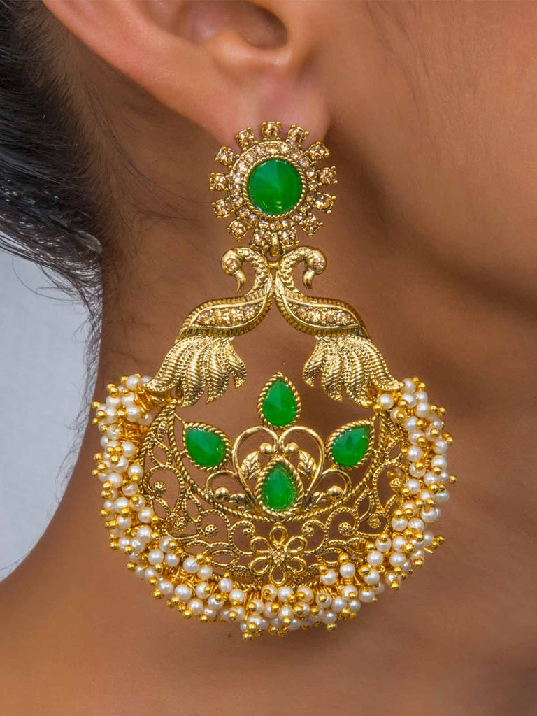 Gold Toned Green Peacock Shaped Inspired Earrings