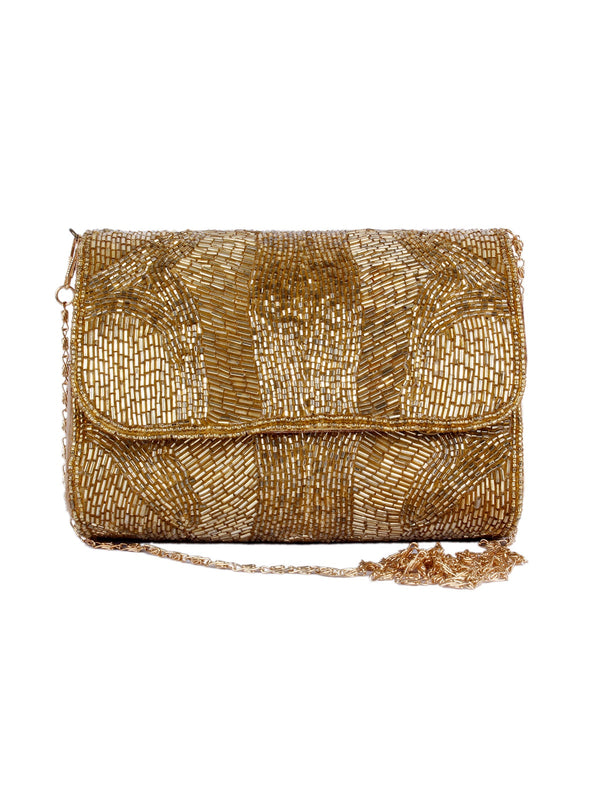 Golden Heavy Kutdana Folded Clutch
