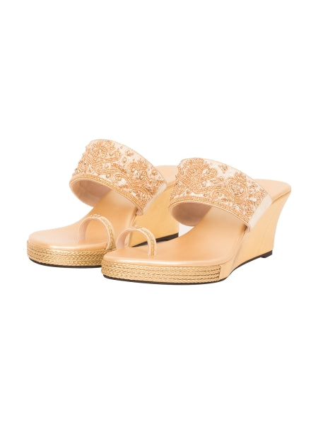 Golden Sequins And Bead Work Wedges