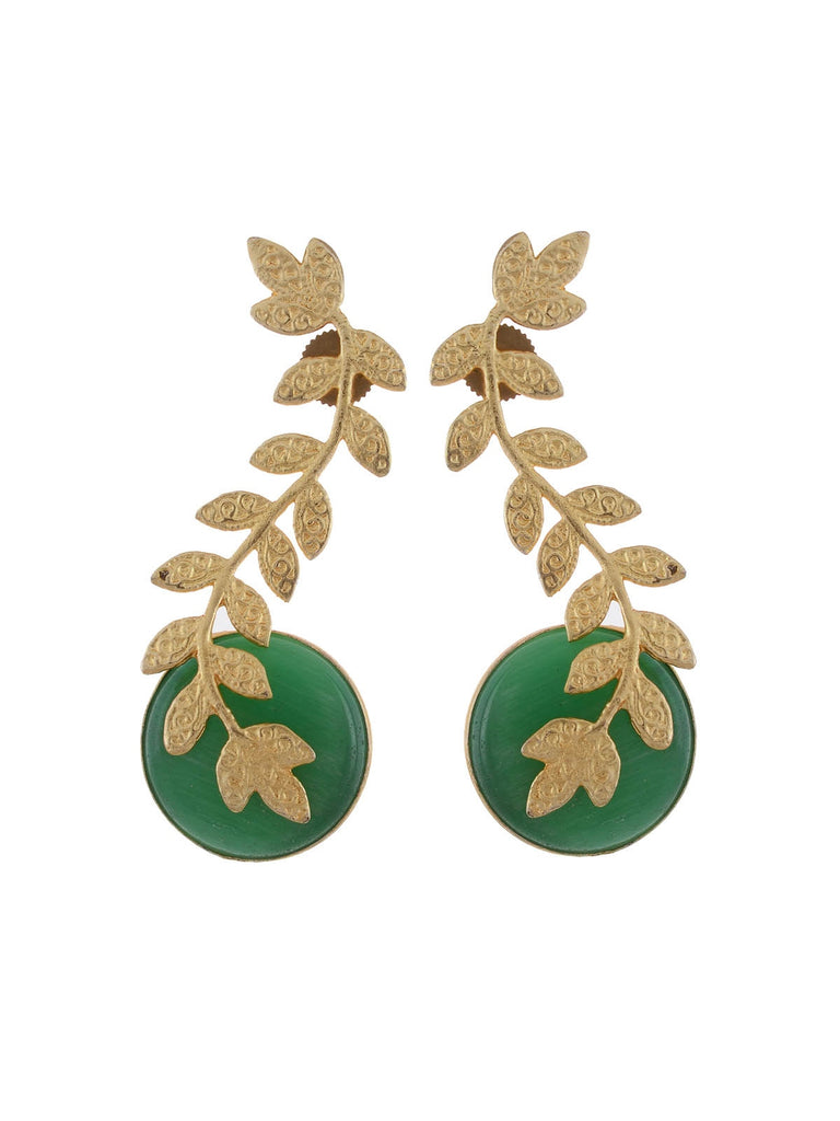 Green and golden stylish dangle earring