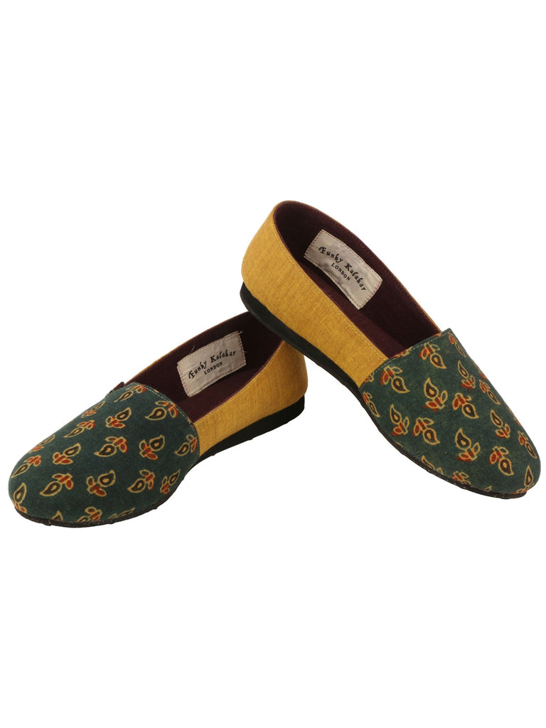 Green And Mustard Granola Boat Loafers
