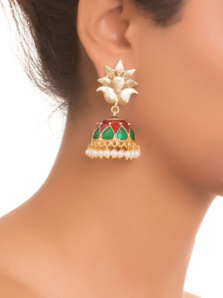 Green And Red Pearl Work Jhumkas