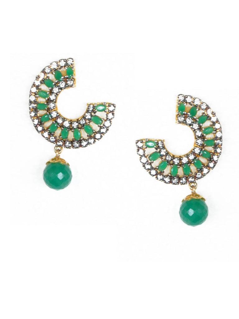 Green Curve Earrings