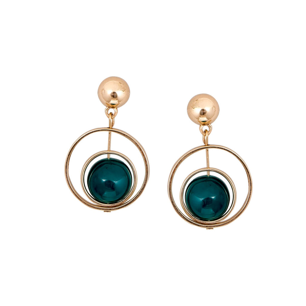 Green Gold Circular Earrings