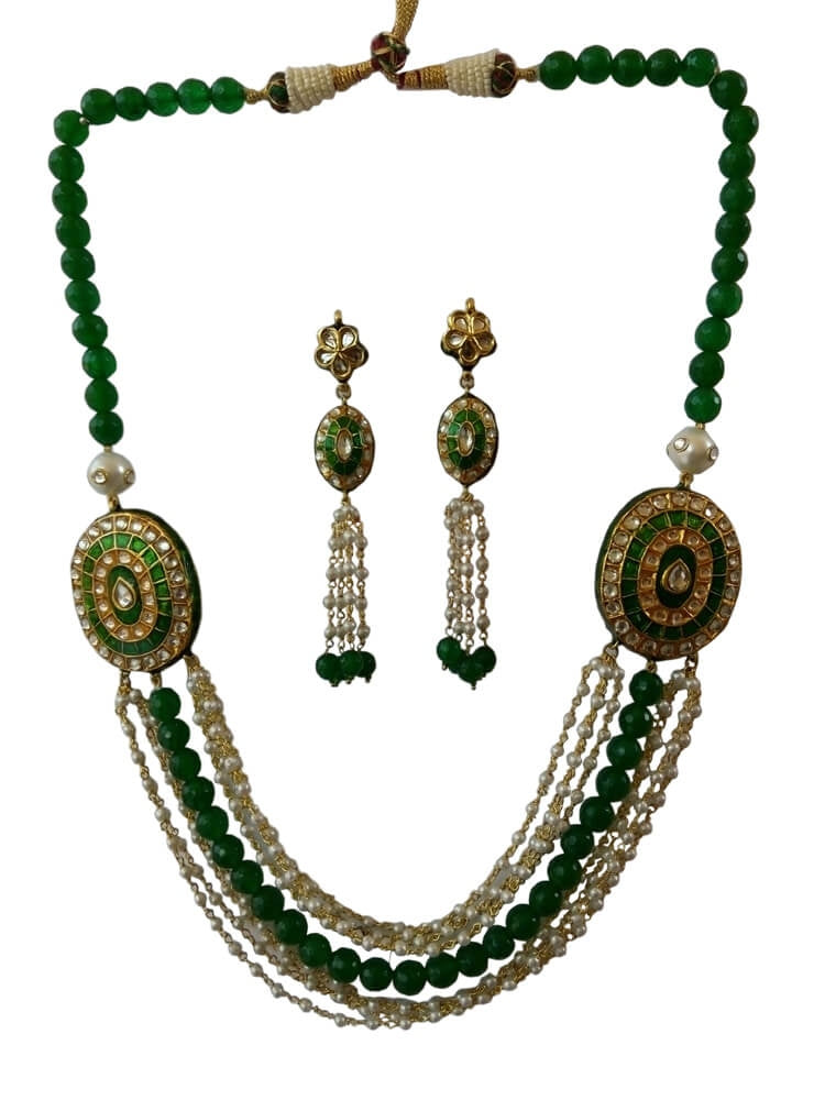 Green Rajasthani Lakh Necklace With Onyx Beads