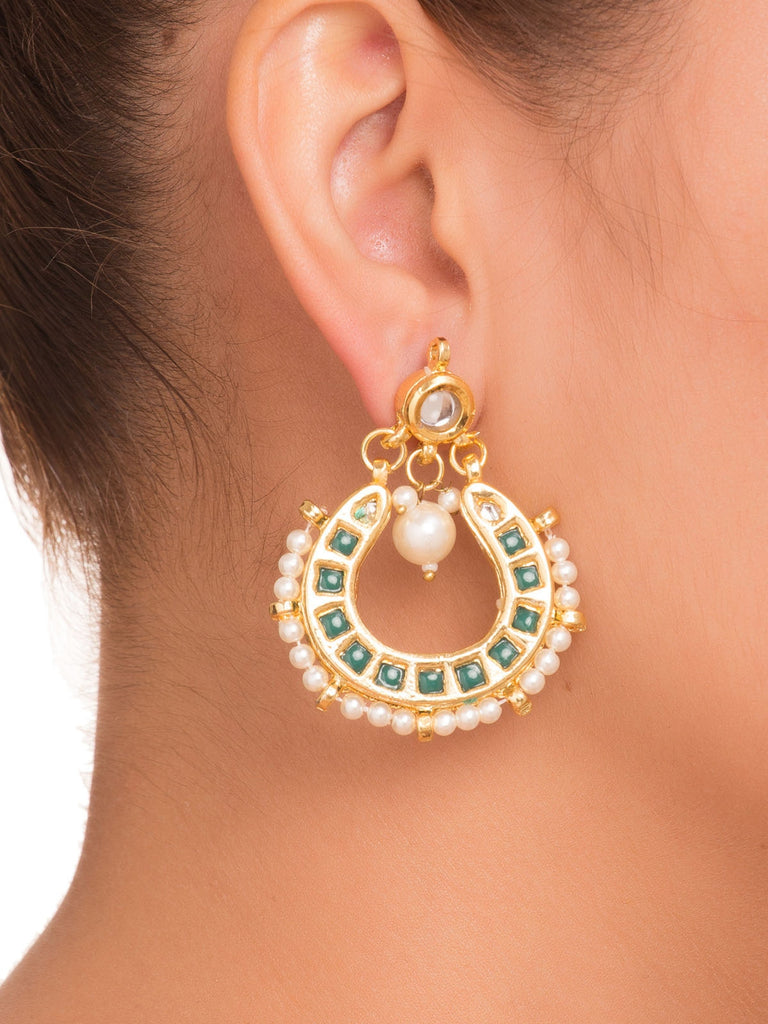 Green Small Chandbali Earrings