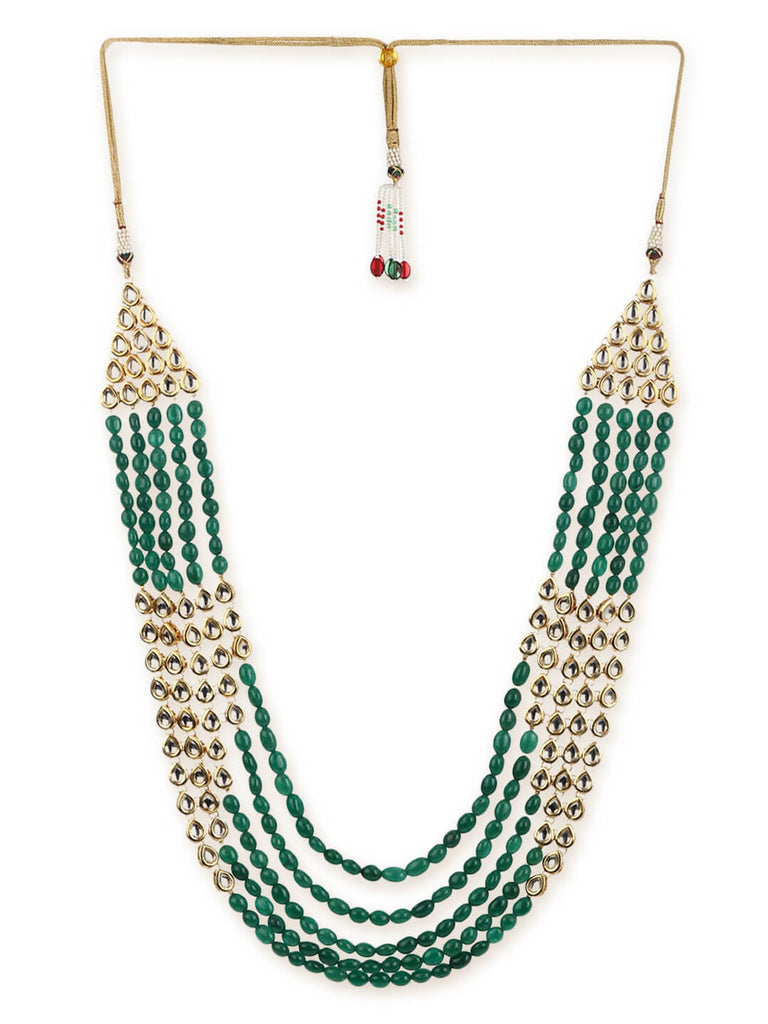 Green Stone And Kundan Long Necklace