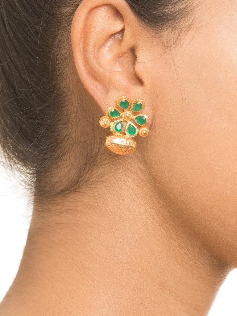Green Stone Flower Earrings