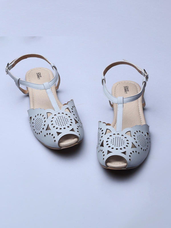 Grey Laser Sky Cut Work Sandals