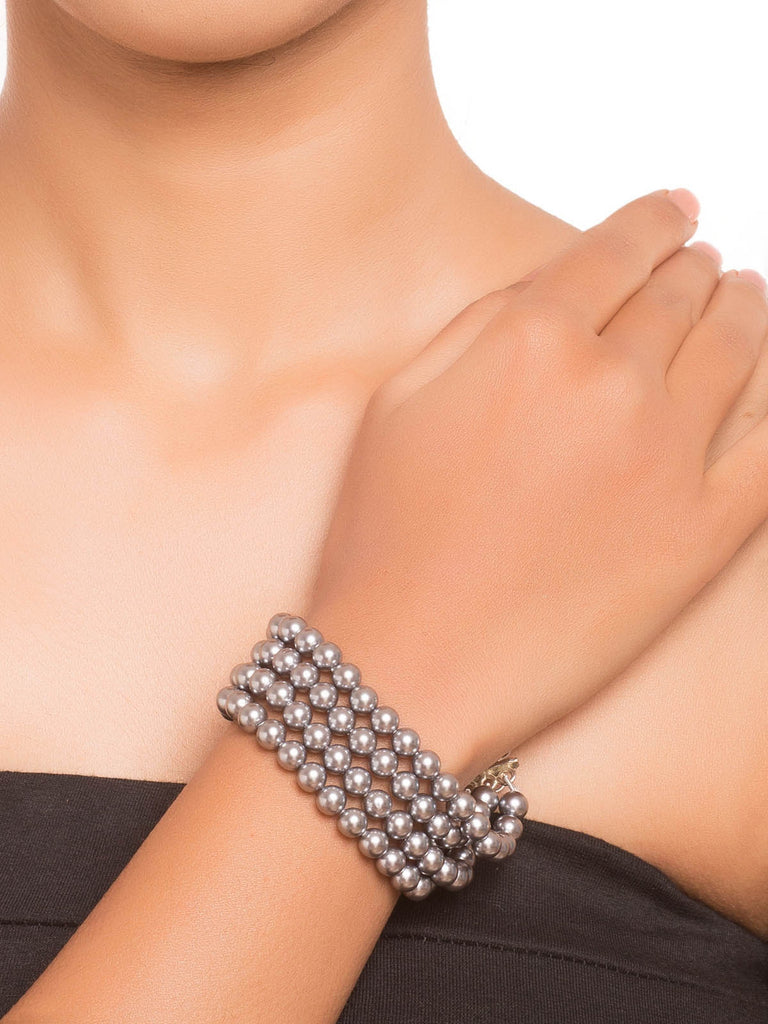 Grey Silver Finish Cuff Bracelet