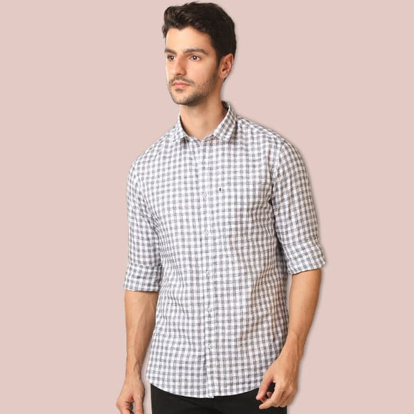 Grey & White Small Checkered Casual Shirt
