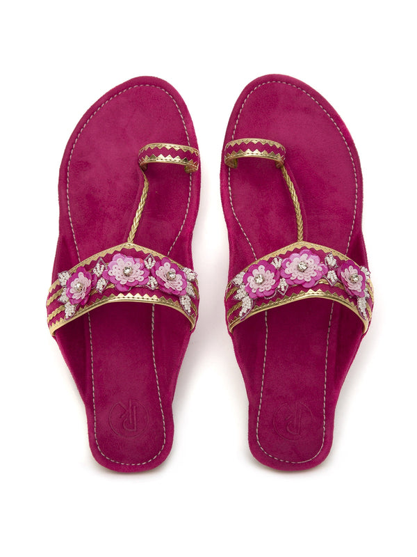 Hot Pink Suede Kolhapuris