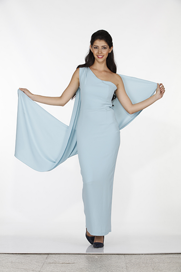 Light Blue 1-Shoulder Column Style