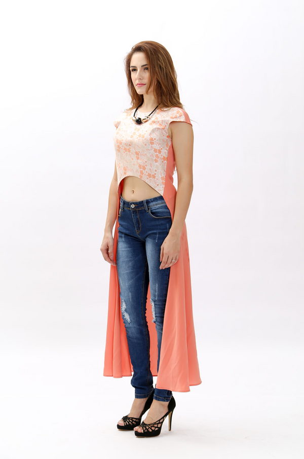 Maxi Top With Long Background Shift Design
