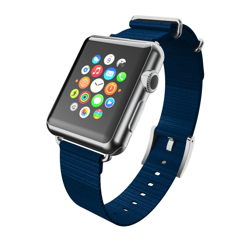 INCIPIO APPLE WATCH 42/44MM NATO STYLE WOVEN NYLON WATCHBAND - NAVY WITH SILVER BUCKLE