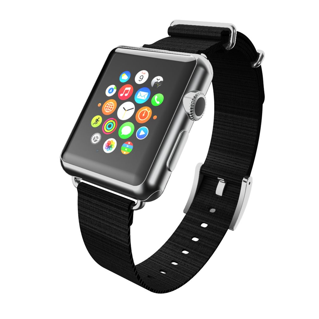 INCIPIO APPLE WATCH 42/44MM NATO STYLE WOVEN NYLON WATCHBAND - BLACK WITH SILVER BUCKLE