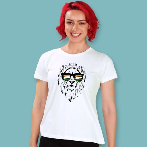 Indian Lion Women'S Printed Half Sleeve T-Shirt